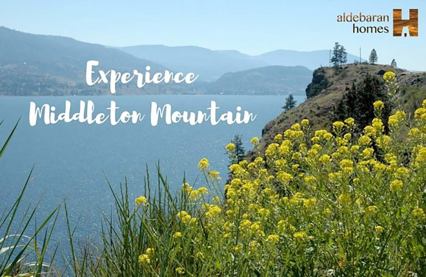 Lake Kalamalka With The Text 'Experience Middleton Mountain'
